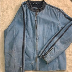 Wilson's Leather  Blue Distressed Leather Jacket